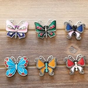 6 BUTTERFLY GINGER SNAP BUTTON SNAP CHARMS 18MM